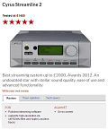CYRUS Streamline2 - Best streaming system up to £2000, Awards 2012